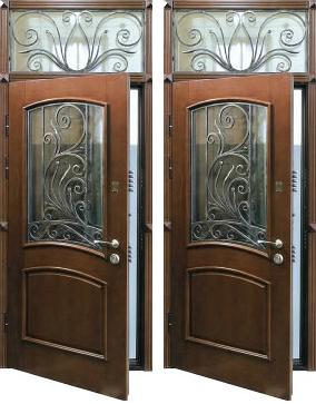 цена на металлическую дверь со стеклом с кованной вставкой