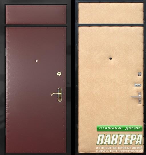 металлические двери на площадку со стеклом эконом класса